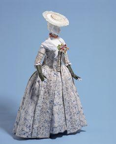 """Dress (""""robe à la française"""")1770s"""