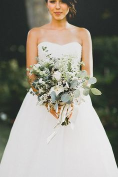 """My bouquet! Kept it neutral with cream, white and sage.  Gotta love that silver dollar eucalyptus! Watch more of my wedding happenings in the """"My Dear"""" video - http://www.youtube.com/watch?v=9ddTAQGUNhs"""
