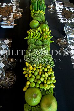 high impact green textured centrepiece going down entire table
