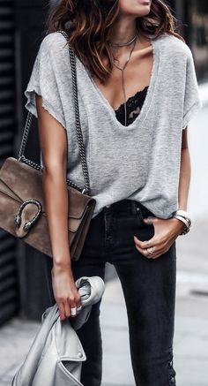 #fall #outfits / gray deep v neck knit + bralette
