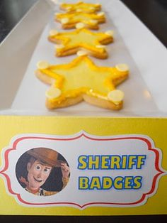 Check out these cookie sheriff badges for a Toy Story themed birthday party. Fête Toy Story, Toy Story Baby, Toy Story Theme, Toy Story Cakes, Toy Story Food, Woody Birthday, Toy Story Birthday, 4th Birthday Parties, Birthday Fun