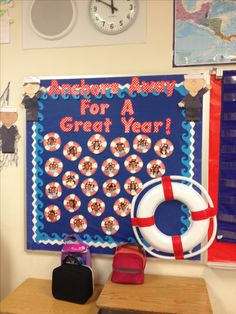 Nautical theme classroom bulletin board with students' pictures at the beginning of year
