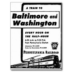 Pennsylvania Railroad Hourly Trains 1948 Post Cards  -SOLD-