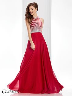 How classic is this dress with a high neckline and an open back?! Check it out at Rsvp Prom and pageant, your source of the HOTTEST Prom and Pageant Dresses!