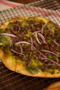Vegetarian Eggplant Naan Pizza with Cilantro Jalapeno Pesto