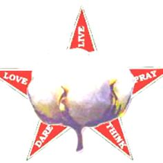 United Daughters of the Confederacy emblem.  Cotton ball superimposed on a five point star with the words: LOVE, LIVE, PRAY, THINK, DARE
