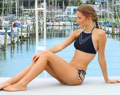 5f1ab7cf5d Classic Black High Neck Hand Stitching Bikini High Neck Top