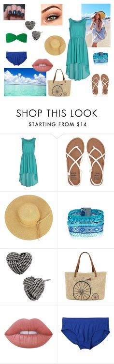 """""""Holiday by the sea"""" by eliskaozanikova ❤ liked on Polyvore featuring Billabong, Betsey Johnson, Straw Studios, Lime Crime, Diesel and Norma Kamali"""