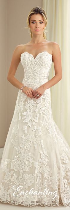 Enchanting by Mon Cheri Fall 2017 Collection - Style 217118 - strapless lace slim A-line wedding dress with illusion lace back
