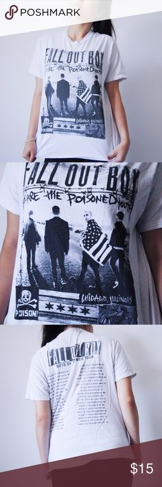 """Fall out Boy Boys of Zummer Tour Shirt This Boys of Zummer shirt has a photo of the band with the """"We are the Poisoned Youth"""" lyric, along with other artwork, on the front. On the back are tour dates. Even if you weren't at Boys of Zummer, this shirt will make you feel like you were ;)  Laundry instructions still intact + easy to read 100% pre-shrunk cotton Note: Not Hot Topic, just listed for visibility. Bought this at a FOB concert! I can negotiate for reasonable offers Hot Topic Tops Tees…"""