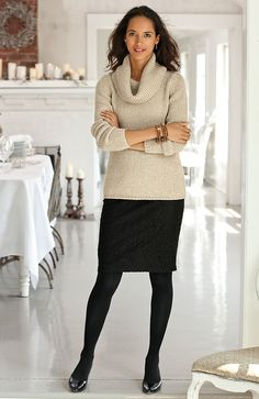 brushed lace skirt (j. jill), pretty.  Not a fan of the sweater however.  The color or the cowl neck.