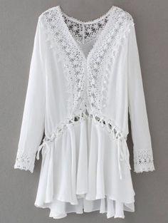 Lace Trim Lace Up Tunic Dress - White S