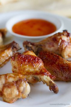 Sweet Thai Chicken Wings - Chicken wings are marinated in a quick mixture of thai-inspired flavors and then baked to perfection in these Sweet Thai Chicken Wings.