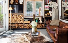 Lovely Living Room with Wood Storage