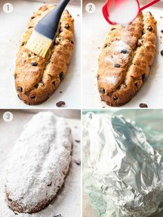 Stollen is loaded with raisins, candied fruit, and nuts. This German recipe is a special treat with a long history that is popular during the Holidays. Christmas Stollen Recipe, German Christmas Food, Best Christmas Recipes, Christmas Baking, Candied Lemon Peel, Candied Lemons, Candied Orange Peel, Candied Fruit, German Stollen