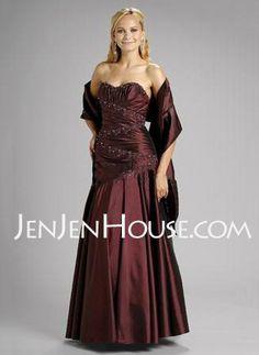 Bridesmaid Dresses - $125.99 - A-Line/Princess Sweetheart Floor-Length Taffeta Bridesmaid Dresses With Ruffle  Beading (007002098) http://jenjenhouse.com/A-line-Princess-Sweetheart-Floor-length-Taffeta-Bridesmaid-Dresses-With-Ruffle--Beading-007002098-g2098
