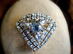 Vintage LeRay large pin with Light Blue Blue Rhinestones, 3 tiered by ALCustomJewelry on Etsy, $29.99