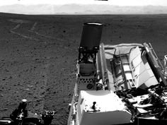 Looking Back at Tracks from Sol 24 Drive. NASA's Mars rover Curiosity drove about 70 feet (about 21 meters) on the mission's 21st Martian day, or sol (Aug. 30, 2012) and then took images with its Navigation Camera that are combined into this scene, which inclues the fresh tracks. The view is centered toward the west-northwest.