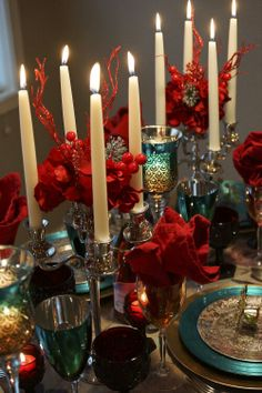 Beautiful Christmas: long stem candles for a very cozy candle lite dinner