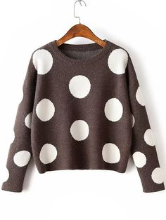 Coffee Polka Dot Drop Shoulder Knitwear -SheIn(abaday)