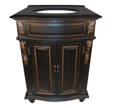 French Style Black with Gold vanity, with Black Granite Top