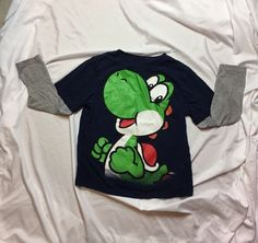 Super Mario Brothers Long Sleeve Navy Blue Yoshi Boys Size 7 Shirt A117  | eBay