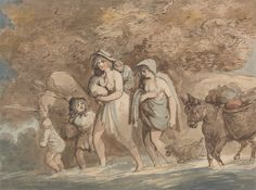 Thomas Rowlandson, 1756–1827, British, A Potter Returning from Market, ca. 1790, Watercolor with pen and brown and gray ink on medium, slightly textured, light blue, laid paper, Yale Center for British Art, Paul Mellon Collection