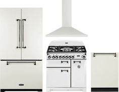 AGA AGRERADWRH1 4 Piece Kitchen Appliances Package with French Door Refrigerator, Dual Fuel Range and Dishwasher in White