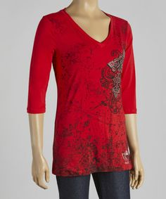 Look what I found on #zulily! Red Rhinestone Cross V-Neck Tee - Women & Plus #zulilyfinds