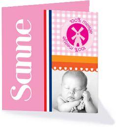 Wil jij gewoon een ouderwets Hollands geboortekaartje? Kies dan voor één van de kaartjes uit de collectie 'hollands hip'.