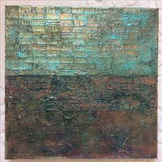 """Lynda Bleyberg. 'Green Reflection'. Mixed media on box canvas. 16"""" by 16"""". For sale £350"""