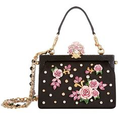 Dolce & Gabbana Satin Rose Embellished Top Handle Bag ($3,860) ❤ liked on Polyvore featuring bags, handbags, dolce gabbana handbags, rose purse, top handle bags, clasp handbag and python purse