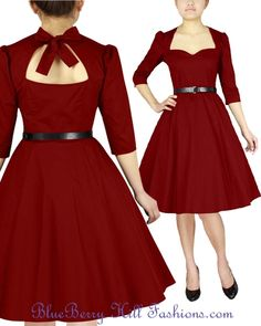 Rockabilly black Red open back plus size swing dress