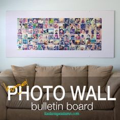 3 x 7  DIY photo wall bulletin board {instagram wall} | Good blueprint for various methods. I like the idea of using a printed sheet to serve as a border for photos.