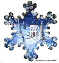 Winter Wonderland Snowflake E-Pattern Blue Christmas Decor, Handmade Christmas Decorations, Christmas Art, Christmas Ornaments, Christmas Decoupage, Christmas Scenes, Christmas Images, Christmas Ideas, Painting Snowflakes