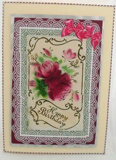 vintage roses on Craftsuprint designed by Cynthia Berridge - made by Deborah Porter - Printed onto photo paper,, folded A4 card in half cut silver mirror card, and glued main image to mirror card and glued to cardcut out each wavy corner and glued to card. - Now available for download!