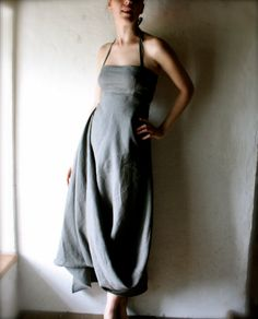 Beautiful grey linen dress. #style, #dress, #fashion