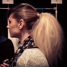 Backstage at Nanette Lepore, @Elizabeth Holmes spots the biggest pony tail she's seen all week. #nanette #nyfw