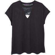 Mango Lace Cotton T-shirt, Black (701.320 IDR) ❤ liked on Polyvore featuring tops, t-shirts, shirts, t shirts, v neck t shirts, black shirt, black v neck shirt and black short sleeve shirt