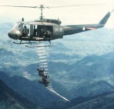 MAC-V-SOG Recon Team seconds after being extracted under fire in Laos during the Vietnam War