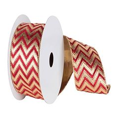 """Gold and Burgundy Red Chevron Lame Wired Christmas Craft Ribbon 4"""" x 10 Yards -- Click image to review more details."""