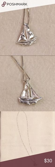 Sailboat Necklace Sailboat pendant necklace with engravings. Jewelry Necklaces