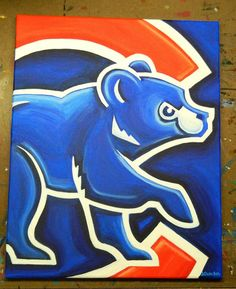 Chicago Cubs painting baseball sports art by crockerart on Etsy Chicago Cubs Logo, Chicago Cubs Baseball, Sports Baseball, Sports Art, Chicago Bears, Sports Teams, Baseball Art, Baseball Stuff, Softball