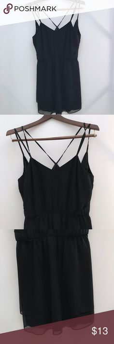 Wink Simple Black Strappy Dress Excellent used condition, new without tags.  Smoke free home.  Fully lined.  Wink brand from Lulu's. Lulu's Dresses