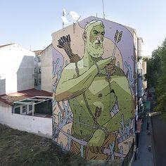 "New mural in Villaverde near Madrid (Spain) entitled ""Payback"" by Spanish artist Aryz ~. Street Art News, Street Mural, 3d Street Art, Street Art Graffiti, Street Artists, Graffiti Artists, Mural Art, Wall Art, Alternative Art"