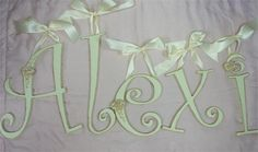 cream shabby chic letters with rose appliques