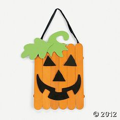 Craft Stick Jack-O'-Lantern Banner Craft Kit. Wooden craft sticks form these cute jack-o'-lantern banners that are ideal for Halloween fun! Halloween Crafts For Kids, Holidays Halloween, Fall Crafts, Decor Crafts, Holiday Crafts, Wood Crafts, Halloween Decorations, Kids Crafts, Halloween Jack