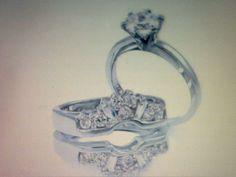 PLATINUM & SS 3.25CTW LCS* DIAMOND ENGAGEMENT RING GUARD SET ! SIZE 9