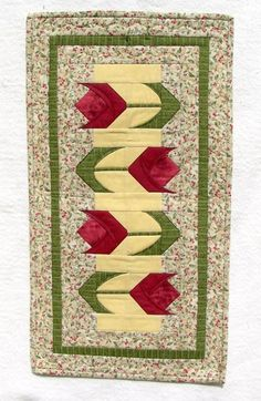 (7) Name: 'Quilting : Spring Tulips Runner & Placemats