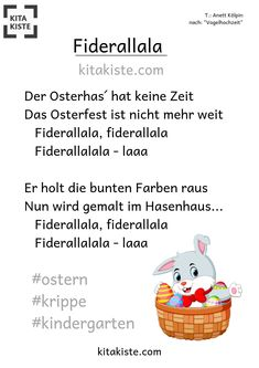 """""""Fiderallala"""" - Easter song - Kitakiste """"Fiderallala"""" - Osterlied after the famous bird wedding melody, simple but sweet - 2 chords - great for the crib, but also Kitakinder have their fun Preschool Garden, Preschool Crafts, Diy Crafts For Kids, Adverb Activities, Kindergarten Activities, Easter Songs, Jade, Kindergarten Portfolio, Kids Daycare"""